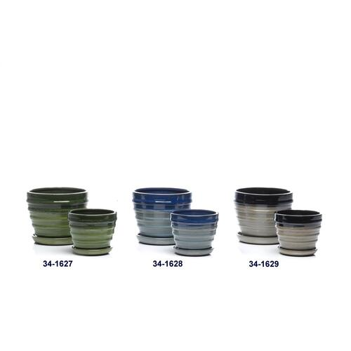 Bolts Petits Pot w/ attached saucer, Black - Set of 2 (Min 4 sets)