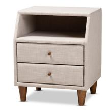 See Details - Baxton Studio Claverie Mid-Century Modern Beige Fabric Upholstered 2-Drawer Wood Nightstand