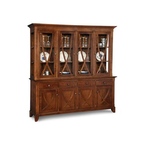 - Florence Buffet&Hutch w/4 Wood Doors & 4/Glass Doors & 4/Dwrs & Glass Gables&Shelves & LED Lighting