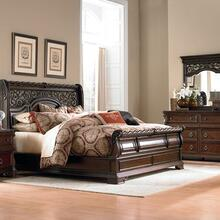 King California Sleigh Bed, Dresser & Mirror, Night Stand
