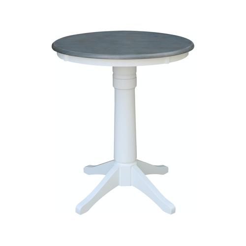 30'' Pedestal Table in Heather Gray/White