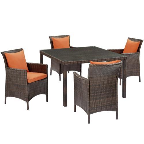 Conduit 5 Piece Outdoor Patio Wicker Rattan Set in Brown Orange
