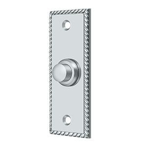 Deltana - Bell Button, Rectangular with Rope Pattern - Polished Chrome