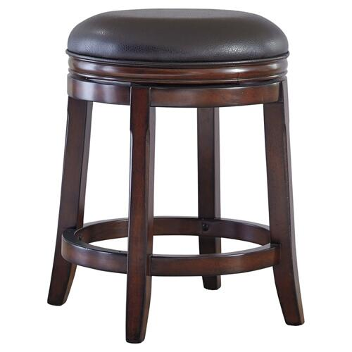 Faux Leather Swivel Stool