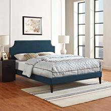 View Product - Corene Queen Fabric Platform Bed with Squared Tapered Legs in Azure