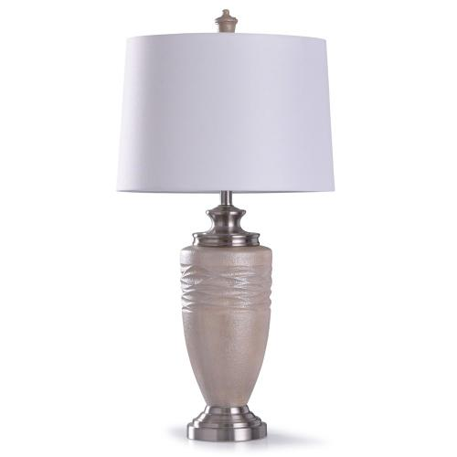 Product Image - Chorley Silver  35in Traditional Textured Wavy Resin Table Lamp with Brushed Silver Accents  150W