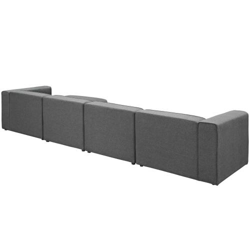 Mingle 5 Piece Upholstered Fabric Sectional Sofa Set in Gray