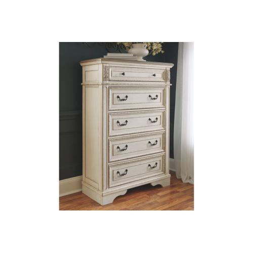 Realyn Five Drawer Chest Chipped White