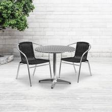 See Details - 31.5'' Round Aluminum Indoor-Outdoor Table Set with 2 Black Rattan Chairs