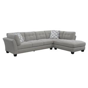 Emerald Home Ryder 2pc Sectional W/2 Accent Pillows Light Silver U4320-11-12-09-k