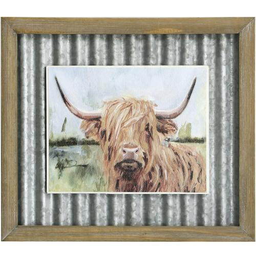 Style Craft - HIGHLAND GRAZER I  14in X 16in  Made in the USA  Textured Framed Print