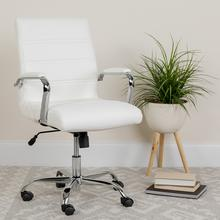 View Product - Mid-Back Gold LeatherSoft Executive Swivel Office Chair with Chrome Frame and Arms