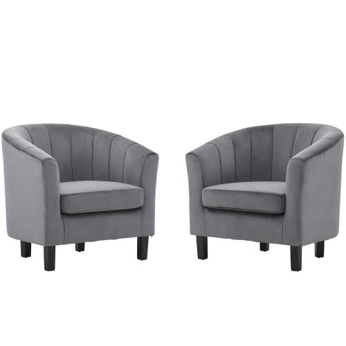 Modway - Prospect Channel Tufted Performance Velvet Armchair Set of 2 in Gray