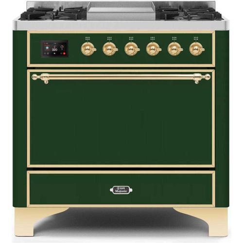 Product Image - Majestic II 36 Inch Dual Fuel Liquid Propane Freestanding Range in Emerald Green with Brass Trim