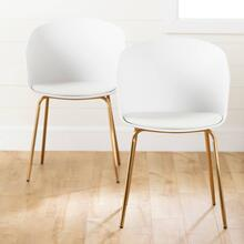 Dining Chair with Metal Legs - Set of 2 - White and Gold