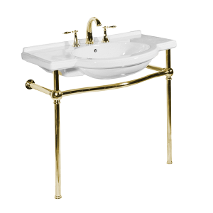 White NOUVEAU Console Lavatory with Polished Brass Metal Finish Product Image