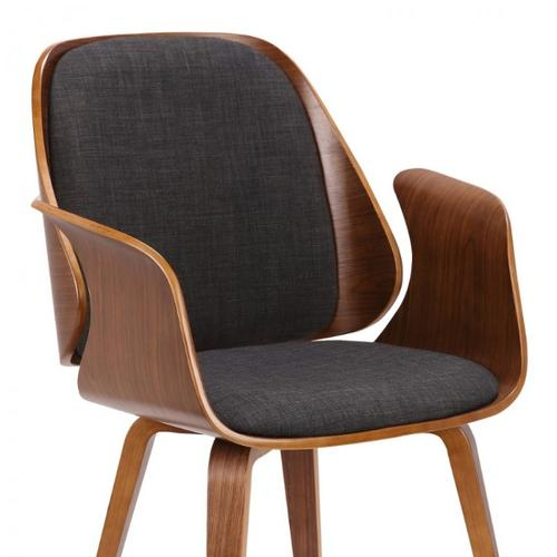 Armen Living Tiffany Mid-Century Dining Chair in Charcoal Fabric with Walnut Veneer Finish