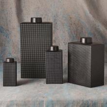 Grid Texture Jar-Black-Lg