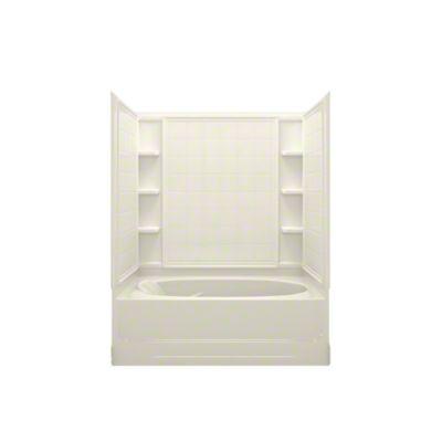 """Ensemble™ AFD, Series 7110, 60"""" x 36"""" x 74-1/4"""" Tile Bath/Shower - Right-hand Drain - KOHLER Biscuit"""
