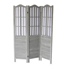 7037 GRAY Shutter Arc 3-Panel Room Divider