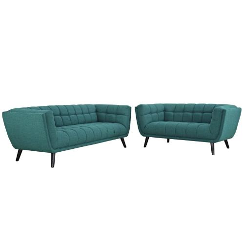 Modway - Bestow 2 Piece Upholstered Fabric Sofa and Loveseat Set in Teal