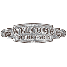 "Distressed Galvanized ""Welcome to the Cabin"" Wall Decor"