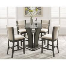 See Details - Kecco Gray 5-Piece Round Glass Top Counter Height Dining Set