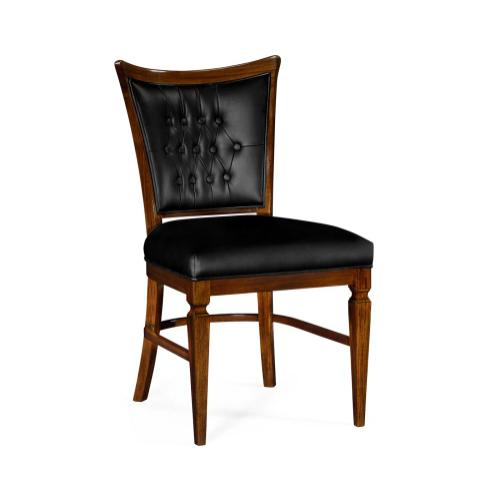 Dining side chair in black leather