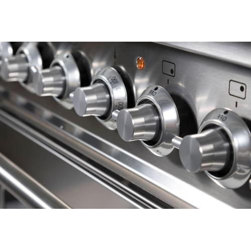 Ilve - Professional Plus 36 Inch Gas Natural Gas Freestanding Range in Stainless Steel with Chrome Trim