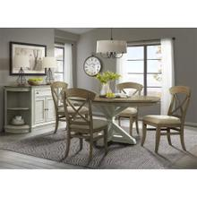 See Details - Southport - Round Dining Table Top - Smokey White/antique Oak Finish