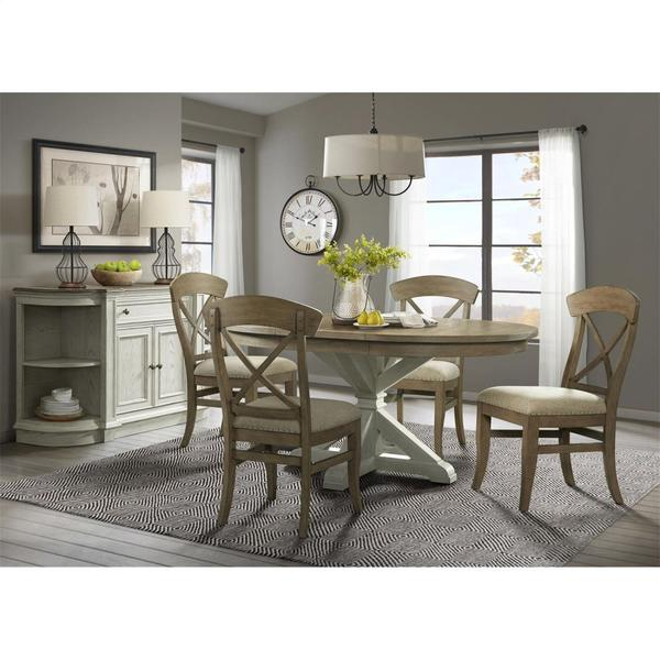 See Details - Southport - Round Dining Table Base - Smokey White/antique Oak Finish