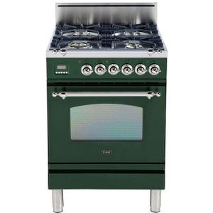 Ilve - Nostalgie 24 Inch Gas Natural Gas Freestanding Range in Emerald Green with Chrome Trim