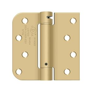 "4"" x 4"" x 5/8"" x SQ Spring Hinge, UL Listed - Brushed Brass"
