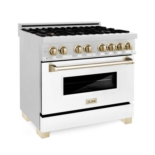 """Zline Kitchen and Bath - ZLINE Autograph Edition 36"""" 4.6 cu. ft. Dual Fuel Range with Gas Stove and Electric Oven in DuraSnow® Stainless Steel with White Matte Door and Accents (RASZ-WM-36) [Color: Gold]"""