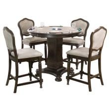 """See Details - Vegas Dining, Chess and Poker Table Set 42"""" - Distressed Gray Wood (5 Piece)"""