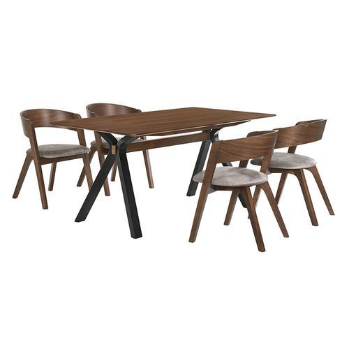 Laredo and Jackie 5 Piece Walnut Rectangular Dining Set