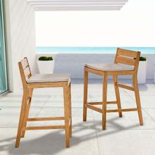 Riverlake Outdoor Patio Ash Wood Bar Stool Set of 2 in Natural Taupe