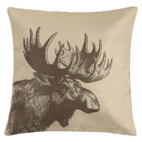 Hiend Accents - Moose Burlap Throw Pillow, 22x22