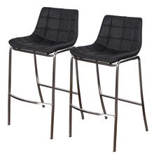 LIGHT TUFTS  23in w X 41in ht X 21in d  Set of Two Black Bar Stools with Stainless Steel Legs