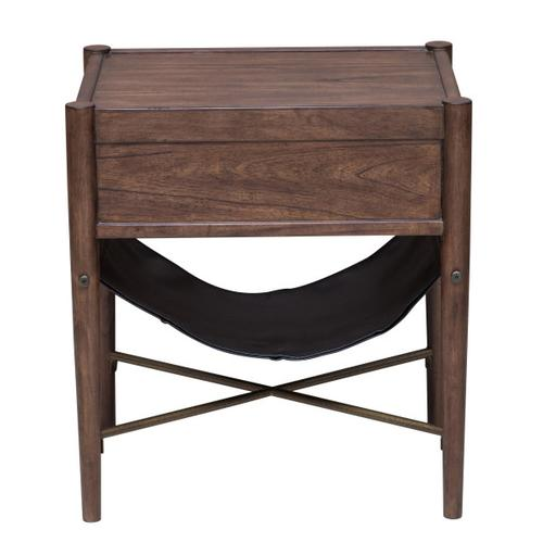 Modern Retro Style Distressed Cherry End Table
