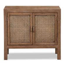 EASTON CABINET  36in w. X 33in ht. X 16in d.  Solid Mango Wood Two Door Cabinet with Woven Cane Pa
