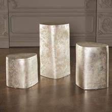 Organic Ceramic Pedestal-Silver Leaf-Med