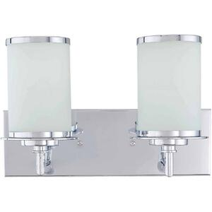 2-lite Vanity Lamp, Chrome/frost Glass, Fluor. Sp Gu24 13wx2