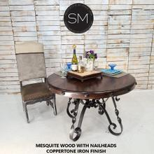 """See Details - One-of-a-Kind Mesquite Dining Table  Round - 1237D - 48""""Rd Bullnose / Turquoise Inlay / Coppertone"""