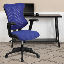 See Details - High Back Designer Blue Mesh Executive Swivel Ergonomic Office Chair with Adjustable Arms