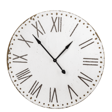 See Details - Distressed Ivory Wall Clock with Roman Numerals