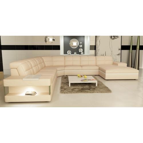 Divani Casa 6130 Modern Cream and White Bonded Leather Sectional Sofa