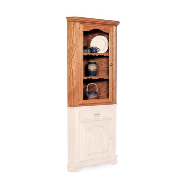 """Classic Closed Corner Hutch Top, 23 3/4"""", Antique Glass"""