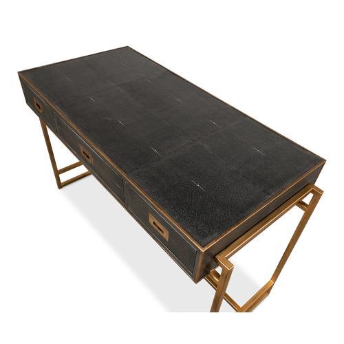 Grey Leather Shagreen Desk