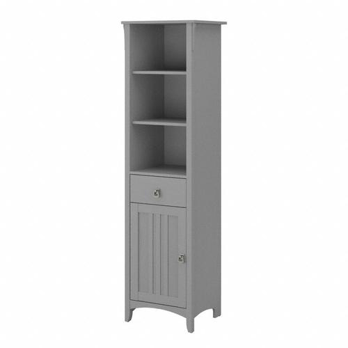 Salinas Bathroom Tall Narrow Bookcase Cabinet - Cape Cod Gray